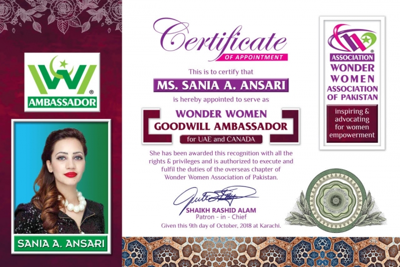 H.E.Sania-Ansari-Wonder-Women-Goodwill-Ambassador