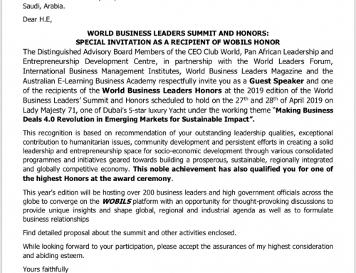 Confirmation Letter for the World Business Leaders Honors.