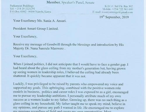 Senator Rose Ogendo's invitation letter to visit Kenya.