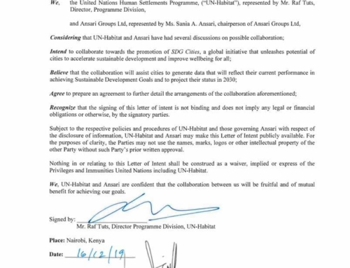 Letter Of Intent from the UN Habitat